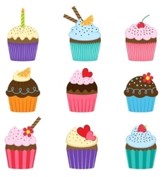 set cute cupcakes vector image
