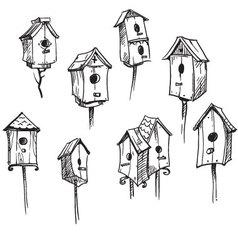 set hand drawn bird houses vector image