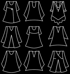 set of fashionable dresses for girl vector image