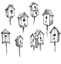 Set of hand drawn bird houses vector image