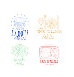 set of lunch emblems in sketch style hand vector image