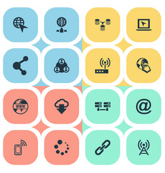 Set of simple network icons vector