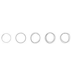 set round hand drawn doodle frames vector image
