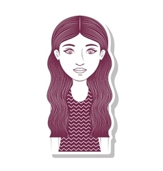 Silhouette teenager with long wavy hair vector