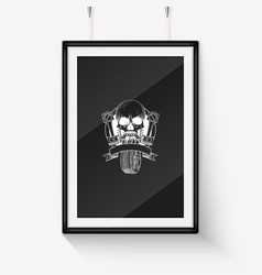 Skull with piston and wheel vector