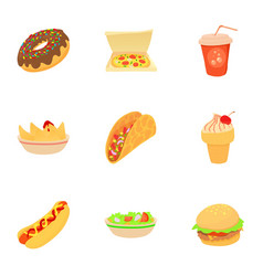 snack icons set cartoon style vector image
