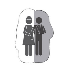 Sticker monochrome pictogram nurse with bandaged vector