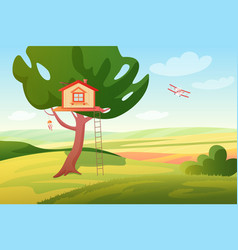 Stylized bright summer rural fields sunny vector
