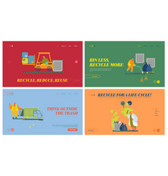 trash factory recycling process website landing vector image