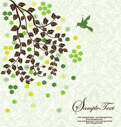 Tree branch with leafs and flowers vector