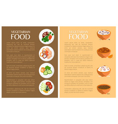 vegetarian food banner icons collection vector image