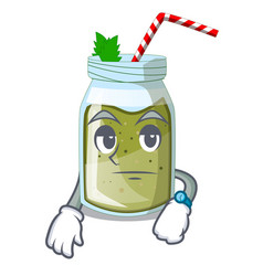waiting smoothie green juice isolated on mascot vector image
