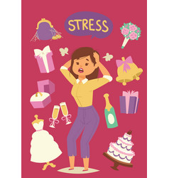 Wedding stress concept bride pulling her hair and vector