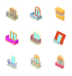 Window throttle icons set isometric style vector