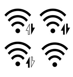 wireless icon set collection wi-fi symbol sign vector image