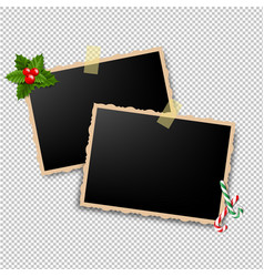 Xmas retro photo frame vector