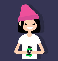 Young angry female character holding a bottle vector