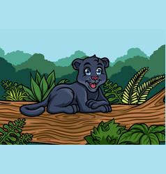 young black panther in the jungle vector image