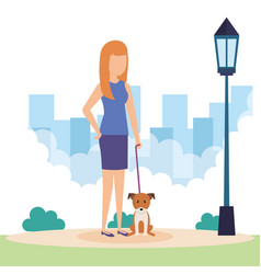 Young woman with dog in the park vector