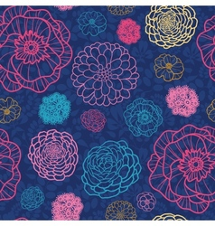 Glowing night flowers seamless pattern background vector image