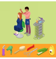 Hair Salon Barber Makes Woman Hairstyle Isometric vector image vector image