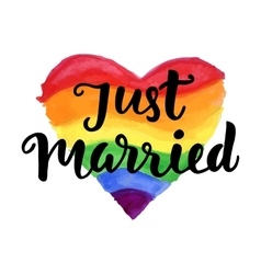 Just Married phrase on bright watercolor heart vector image vector image