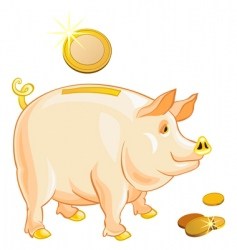 piggy bank with gold coins vector image vector image