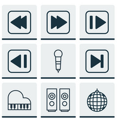 set of 9 music icons includes following song vector image vector image