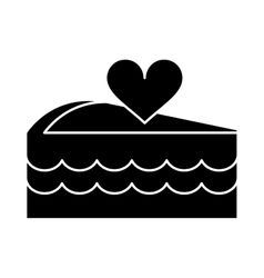 silhouette delicious pink cake with love heart vector image
