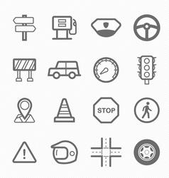 Traffic symbol line icon set vector image vector image