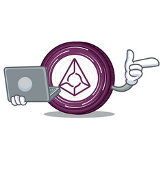 with laptop augur coin character cartoon vector image