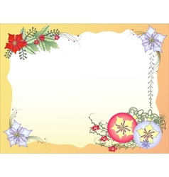 Christmas Background with Balls and Flowers vector image