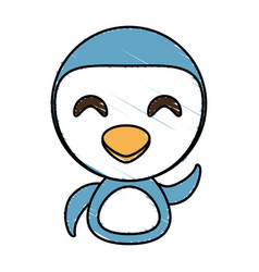 Draw penguin animal comic vector