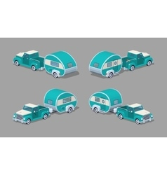 Low poly turquoise retro pickup with motor home vector image vector image