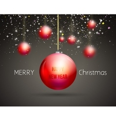 Merry Christmas Happy New Year trendy red gold vector image vector image