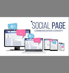 social page on computer monitor laptop tablet vector image vector image