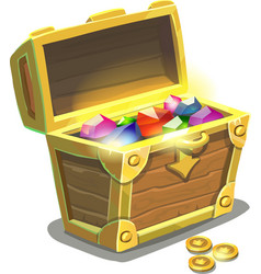 Treasure chest full of jewels vector image vector image