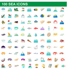 100 sea icons set cartoon style vector image vector image