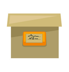 cardboard box with sign on side isolated vector image vector image