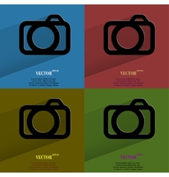Color set Camera Flat modern web button with long vector image vector image