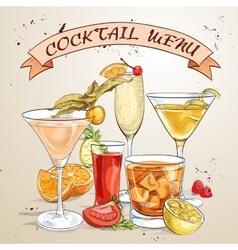 Contemporary Classics Cocktails Menu vector image