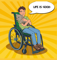 disable handicapped boy in wheelchair pop art vector image vector image