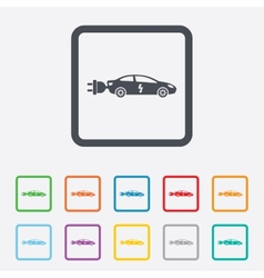 Electric car sign icon Sedan saloon symbol vector image vector image