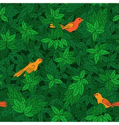 Foliate pattern with birds vector image vector image