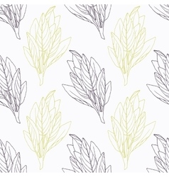 Hand drawn sage branch wirh flowers stylized black vector image vector image