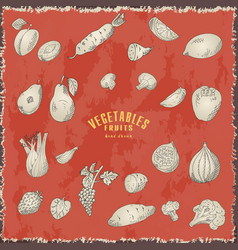 hand drawn sketch fruits and vegetables vector image