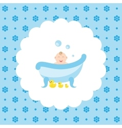Happy baby in the bath with a rubber ducks vector image vector image