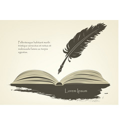 old feather with open book vector image