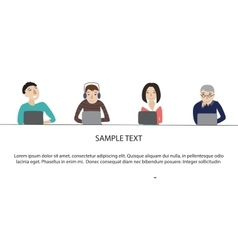People working on laptop concept vector image