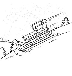 sledge slide down hill coloring book vector image vector image
